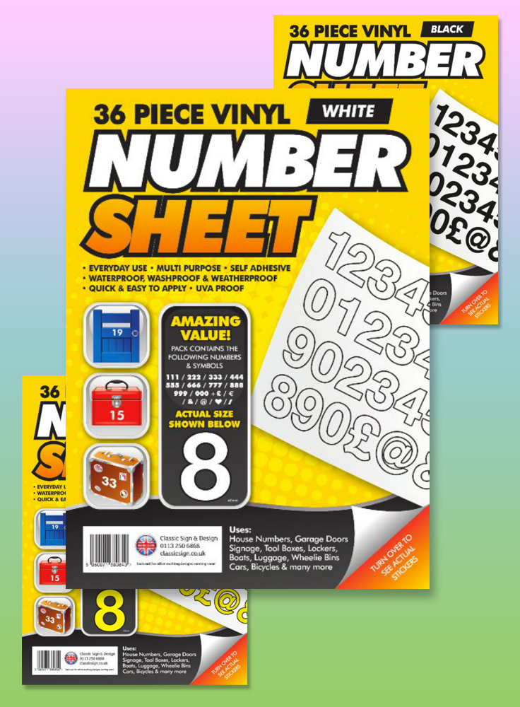 36 piece vinyl number sticker sheet